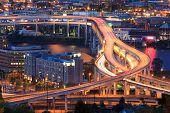 stock photo of portland oregon  - Night Scene of Interstate 5 in Portland Oregon during rush hour - JPG