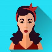 pic of grown up  - Blue flat style square shaped female character icon with shadow - JPG