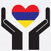 picture of armenia  - Hand showing Armenia flag in a heart shape - JPG