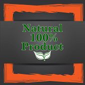 stock photo of 100 percent  - 100 percent natural product icon - JPG