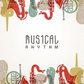 foto of wind instrument  - Abstract musical background decorated with stylish text and colorful instruments - JPG