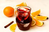 foto of sangria  - summer cocktail sangria with fruit in a basket - JPG