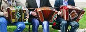 stock photo of accordion  - Three people sitting on a bench playing the accordion  - JPG
