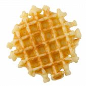 picture of crisps  - Closeup of crisp waffle isolated on white background - JPG