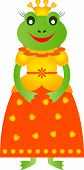 stock photo of orange frog  - green princess frog cartoon  with yellow and orange dress - JPG