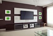 image of home theater  - Modern Home Theater Room Interior with Flat Screen TV angled perspective view - JPG