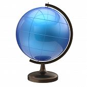 stock photo of geography  - Blue globe blank planet Earth international global geography school studying world cartography symbol icon - JPG