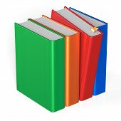 picture of four  - Blank books row four 4 covers selecting red colorful standing textbook template - JPG