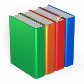 foto of four  - Books four blank educational textbooks bookshelf bookcase row standing 4 colorful blue red orange green template - JPG