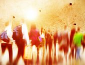 image of hustle  - Casual People Rush Hour Walking Commuting City Concept - JPG