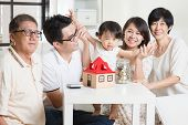 stock photo of family planning  - Family money saving or future financial planning concept - JPG