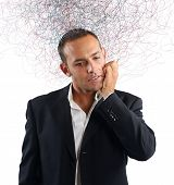 image of confuse  - Businessman stressed and confused about which investment do - JPG