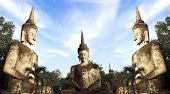 stock photo of hindu  - Ancient Buddha hindu style statue at Sala Kaew Ku Nongkhai Thailand - JPG