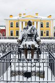 picture of metal sculpture  - Peter The First sculpture in Peter and Paul Fortress in Saint - JPG