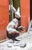 image of hare  - Bronze hare statue at Peter and Paul Fortress at winter in Saint - JPG