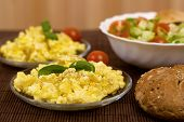 foto of scrambled eggs  - scrambled eggs with bread and vegetables  - JPG