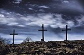 picture of inri  - The old rugged wooden cross of the christian church - JPG
