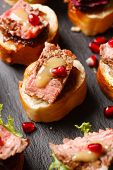 stock photo of canapes  - canape with beef meat - JPG