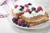 pic of berries  - Soft waffles with protein cream berry jam whipped cream and berries - JPG
