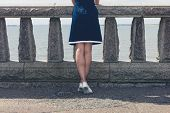 picture of balustrade  - A young woman wearing a blue dress is standing by a wall with concrete balustrades on a promenade and is admiring the seaside on a sunny day - JPG