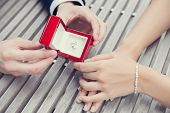 stock photo of propose  - picture of wedding proposal with diamond ring - JPG