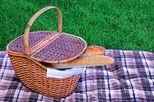 picture of baguette  - Wood Picnic Basket With Two French Baguette On The Checkered Blanket - JPG