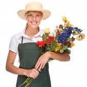 stock photo of pinner  - Full isolated portrait of a beautiful caucasian gardener - JPG