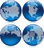 stock photo of northern hemisphere  - Vector illustration of shiny blue Earth globe with round dots on northern hemisphere - JPG