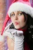 Christmas Woman With Snowflake