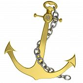 Golden Anchor With Chain Isolated On White