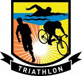 triathlon run swim bike shield