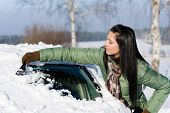 stock photo of ice-scraper  - Winter car  - JPG
