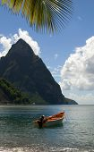 Soufriere St. Lucia Twin Piton Mountain Peaks With Fishing Boat In Caribbean Sea
