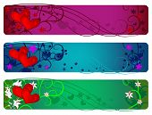 Valentine Banner Set. Day, Evening And Night