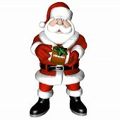 picture of happy holidays  - santa holding out a football with green bow. isolated on a white background. - JPG