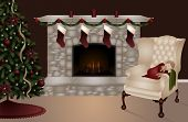 stock photo of cozy hearth  - A young child sleeps on a chair near the fireplace - JPG