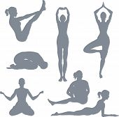 foto of samadhi  - illustrations of a set of yoga postures silhouettes - JPG