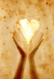 stock photo of valentine heart  - retro postcard with hands giving heart flower - JPG