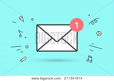 poster of Icon of new mail envelope. White mail envelope with red marker One Message. Sign of mail envelope on blue mint background and explosive graphic element. Icon of mail envelope. Vector Illustration