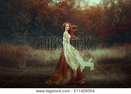 poster of Beautiful young woman with very long red hair in a golden medieval dress walking through the autumn forest. Long red hair develops in the wind. Creative colors and Artistic processing.