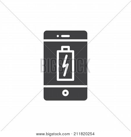 Smartphone Charging Battery Icon Vector Filled Flat Sign Solid