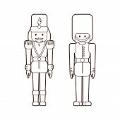 Two Nutcrackers Soldiers In Lineart Style poster