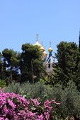 image of church mary magdalene  - Russian Orthodox Church of Mary Magdalene on the Mount of Olives - JPG