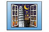 Una ventana en la torre de Pisa
