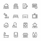 Hotel And Service Apartment, House And Property For Rent, Simple Thin Line Hotel Icons Set, Vector I poster