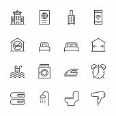 Hotel Service, Simple Thin Line Hotel Icons Set, Vector Icon Design poster