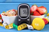 Glucometer For Checking Sugar Level, Healthy Food, Dumbbells And Centimeter, Diabetes, Healthy And S poster