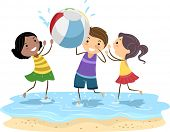 Illustration of Kids Playing with a Beach Ball