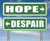 hope or despair hopeful hopeless lost losing faith or desperation 3D, illustration poster