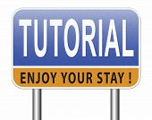 tutorial learn online video lesson or class, website education internet learning 3D, illustration poster
